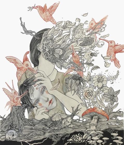 Self Exorcism I chinese ink, marker ink and aquarelles on paper I 58x63 cm I 2016