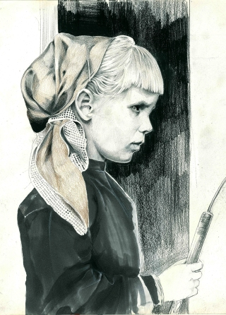 Girl Portrait I Graphite and markers on A3 moleskine