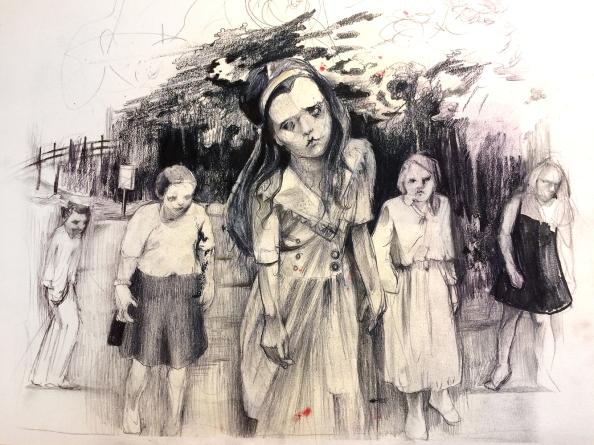 """Living Dead"" study I Graphite and black pencil on A3 moleskine"