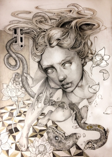 Lotus Snake I graphite and ink on paper I 30x42 cm I 2018