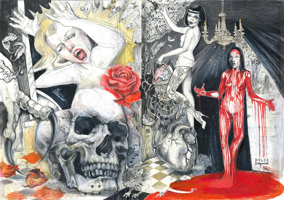 Horror Studies v.1 I Colored pencils, pastels and ink on A3 (2 pages) moleskine