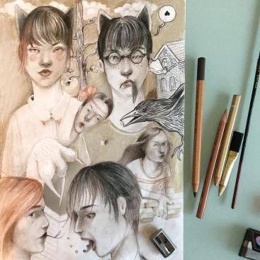 Colored pencils on A4 moleskine