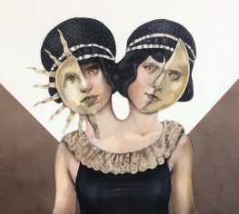 Daisy&Violet, 80x110 cm, Airbrush and Colored Pencils on Paper, 2018