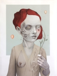 Henrietta, 73x100, Colored Pencils, Acrylics on Paper, 2018