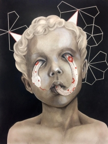 Sneaky, 60x80 cm, Airbrush, Spray and Colored Pencils on Paper, 2018